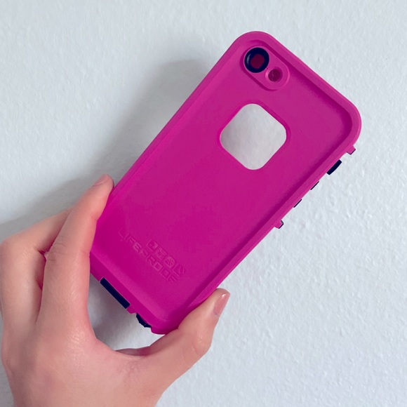 Hot pink life proof iPhone 5 case